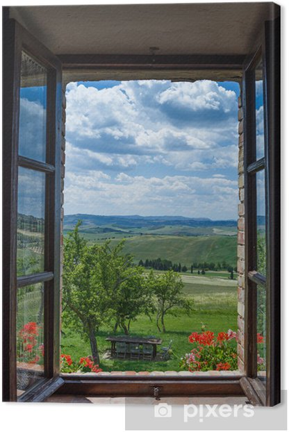 Tuscany landscape from window Canvas Print - Countryside
