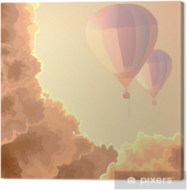 Two air balloons, sky and clouds. Canvas Print - Themes