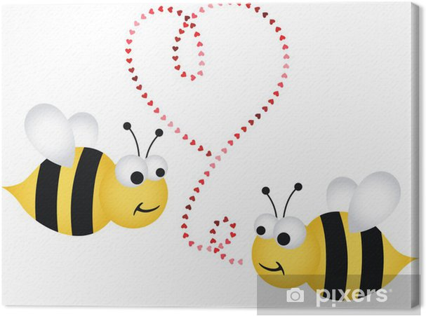 Two cute bees in love Canvas Print - International Celebrations
