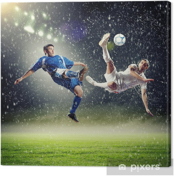 two football players striking the ball Canvas Print - Themes