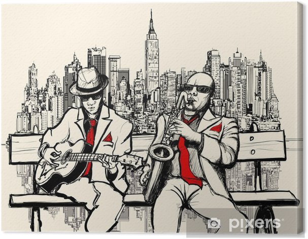two jazz men playing in New York Canvas Print - Jazz
