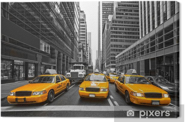 TYellow taxis in New York City, USA. Canvas Print -