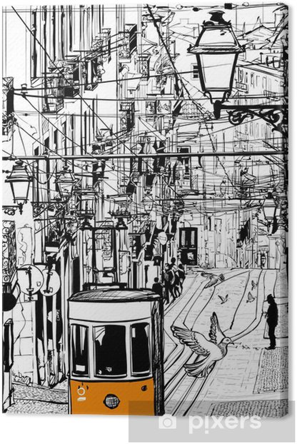 Typical tramway in Lisbon near Chiado square Canvas Print - European Cities
