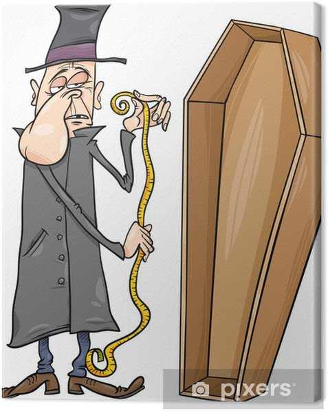 undertaker with coffin cartoon illustration Canvas Print - Life