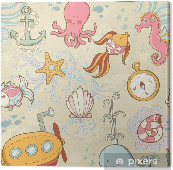Underwater creatures cute cartoon seamless pattern Canvas Print - Oceania
