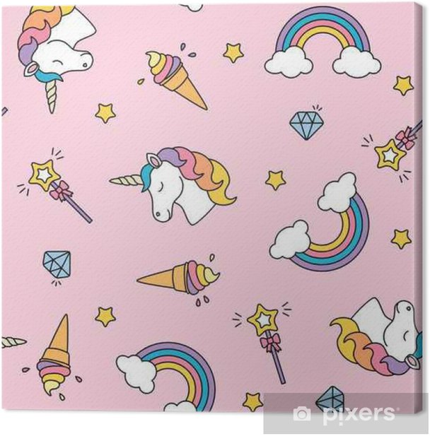 Unicorn, rainbow and magic wand pastel colors seamless pattern Canvas Print - Graphic Resources