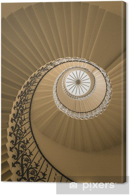 Upside view of a spiral staircase Canvas Print - Themes