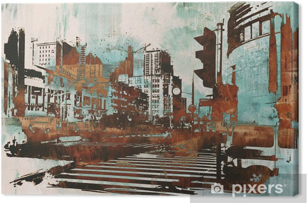 urban cityscape with abstract grunge,illustration painting Canvas Print - Hobbies and Leisure
