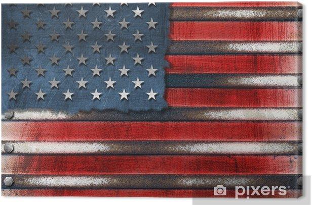 USA Grunge Metal Flag Canvas Print - Themes