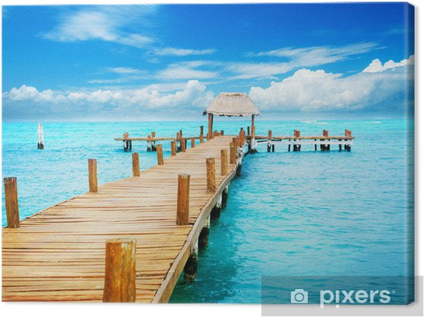 Vacation in Tropic Paradise. Jetty on Isla Mujeres, Mexico Canvas Print - Themes