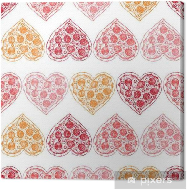 Valentine's Day background with Hand drawn pizza sketch. Seamless pattern with vintage food illustration. Canvas Print - Culture and Religion