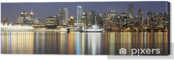 Vancouver downtown colorful night, Canada BC Canvas Print - America