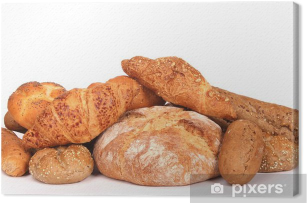 Various kinds of pastry on white background Canvas Print - Rice