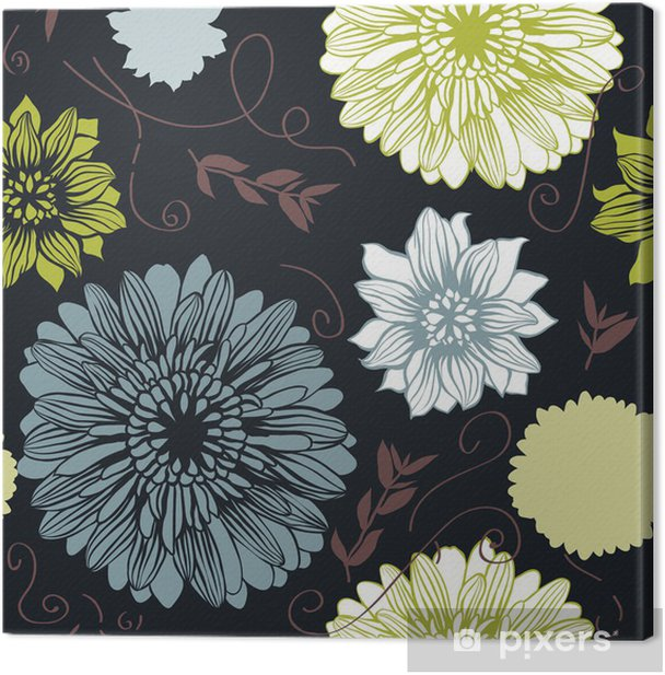 Vector background with hand drawn flowers. (Seamless Pattern) Canvas Print - Backgrounds
