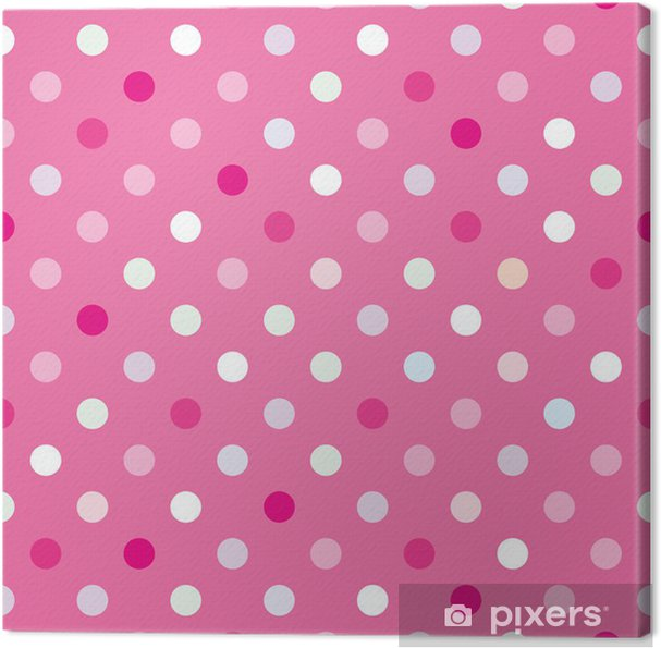 Vector background with polka dots on baby pink background Canvas Print