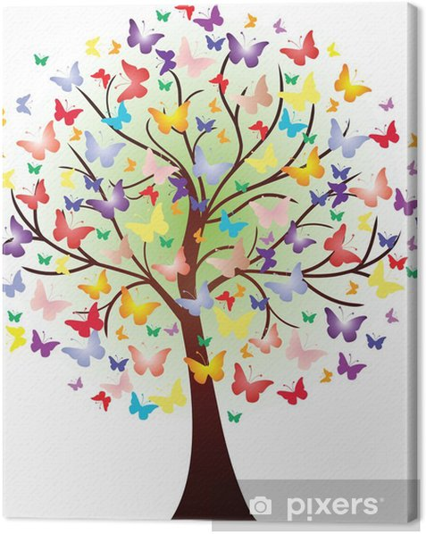 Vector beautiful spring tree, consisting of butterflies Canvas Print - Wall decals
