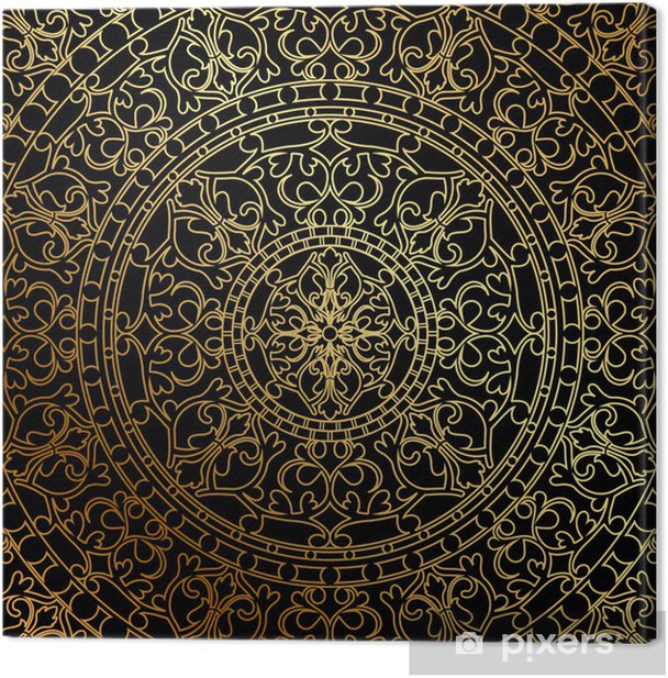 Vector black background with gold oriental ornament Canvas Print - Styles