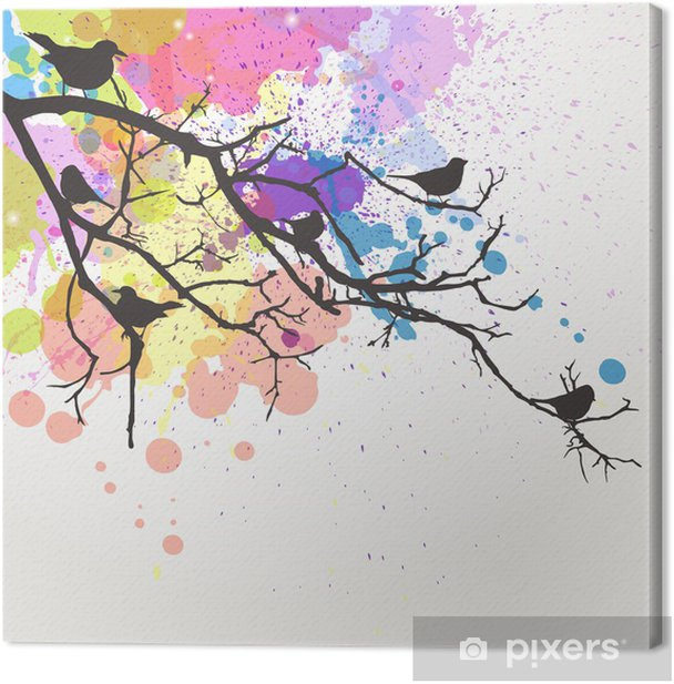 Vector Branch with birds on an abstract background Canvas Print - Styles