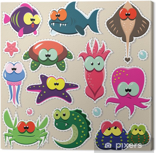 Vector Cartoon Funny Sea Animal Stickers Set Canvas Print Pixers