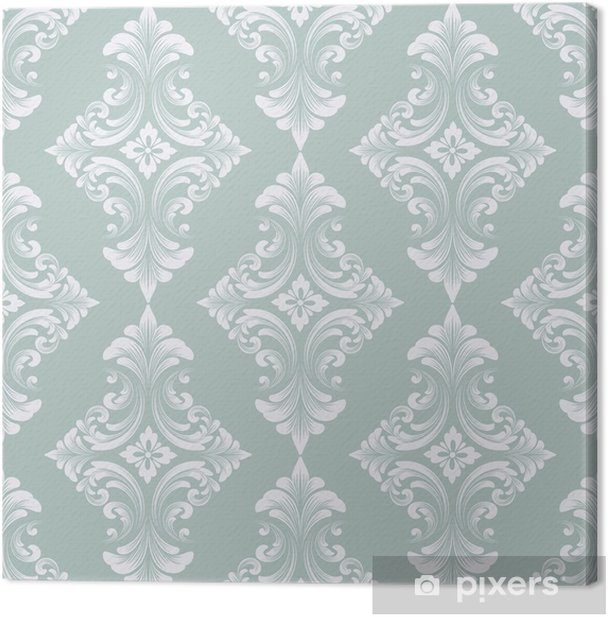 Vector damask seamless pattern background. Classical luxury old fashioned damask ornament, royal victorian seamless texture for wallpapers, textile, wrapping. Exquisite floral baroque template. Canvas Print - Graphic Resources