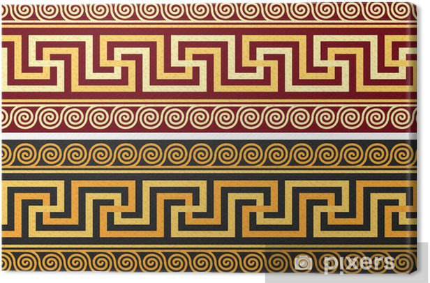 vector frieze with Greek ornament (Meander) Canvas Print - Styles