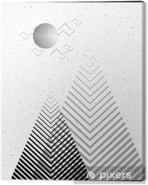 Vector geometric triangle background, abstract mountains.Conceptual background, with mountains.Flat design, with minimal elements.Use for card, poster, brochure,banner.Black and white Interior print. Canvas Print - Landscapes