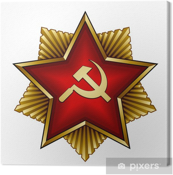 vector golden soviet badge - red star sickle and hammer Canvas Print - Criteo