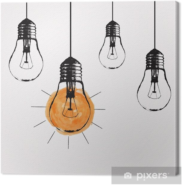 Vector grunge illustration with hanging light bulbs and place for text. Modern hipster sketch style. Unique idea and creative thinking concept. Canvas Print - States of Mind