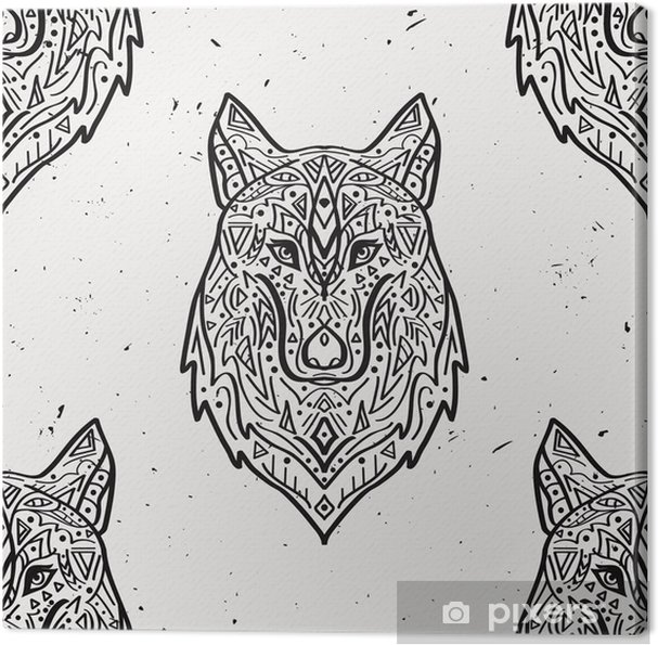 dbc3b2eccc37a Vector grunge monochrome seamless pattern with tribal style wolf with  ethnic ornaments. American indian motifs. Boho design. Canvas Print
