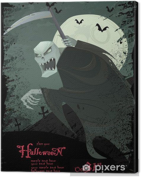 vector hallowen template with grim reaper canvas print pixers