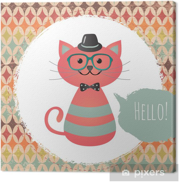 Vector Hipster Cat greeting card design illustration Canvas Print - Styles
