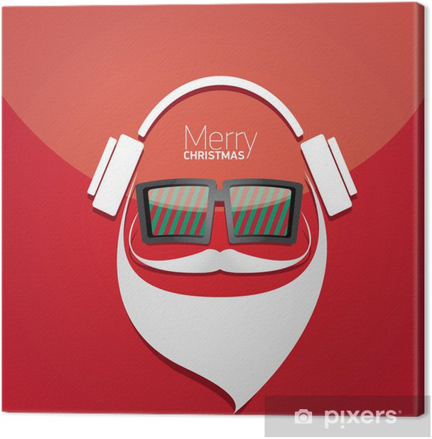 Vector Hipster santa poster for party or greeting card. Canvas Print - Entertainment