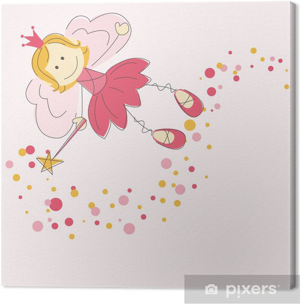 Vector illustration of a fairy with magic stick Canvas Print - Children