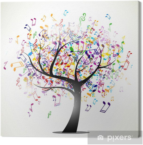 Vector Illustration of an Abstract Background with Music notes Canvas Print -