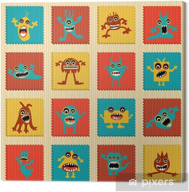 vector illustration of collection of cartoon alien and monster Canvas Print -