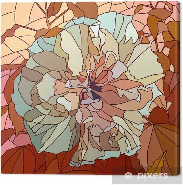 Vector illustration of flower hibiscus (Chinese rose). Canvas Print - Flowers