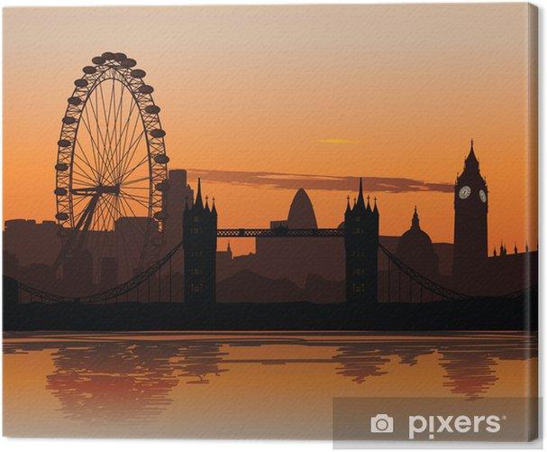 Vector illustration of London skyline at sunset Canvas Print - Themes