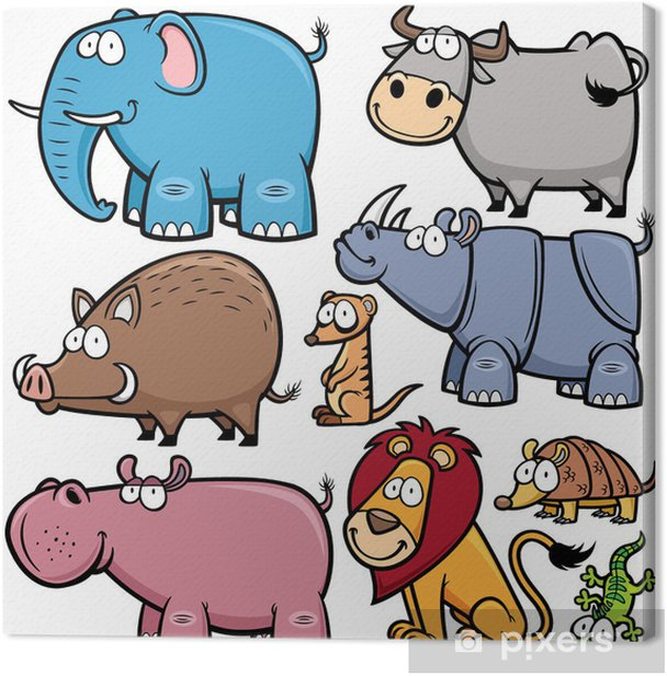 Vector illustration of Wild animals cartoons Canvas Print - Mammals