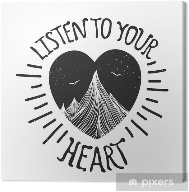 Vector illustration with mountains inside the heart Canvas Print - Landscapes