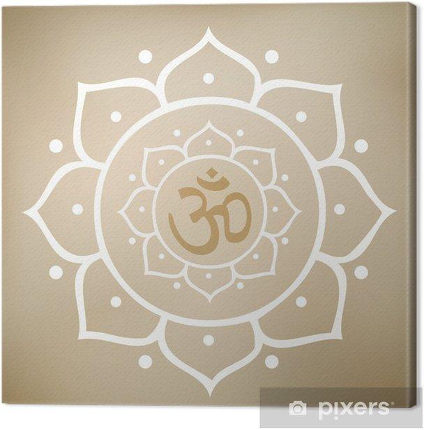 Vector Lotus Mandala with Om Symbol Canvas Print - Religion