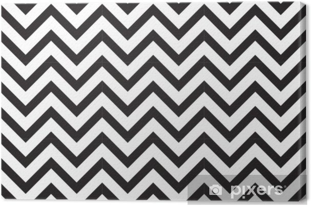 Vector modern seamless geometry pattern chevron, black and white abstract geometric background, subtle pillow print, monochrome retro texture, hipster fashion design Canvas Print - Graphic Resources