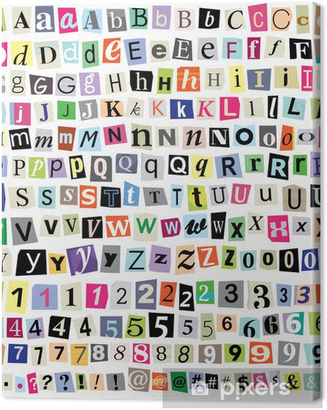 Vector Ransom Note- Cut Paper Letters, Numbers, Symbols Canvas Print - Themes