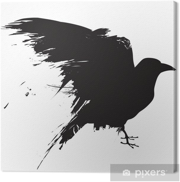 Vector raven or crow in grunge style Canvas Print - Wall decals