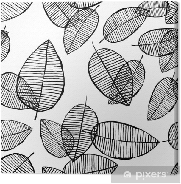 Vector seamless outline leaves pattern. Black and white background made with watercolor, ink and marker. Trendy scandinavian design concept for fashion textile print. Nature illustration. Canvas Print - Graphic Resources