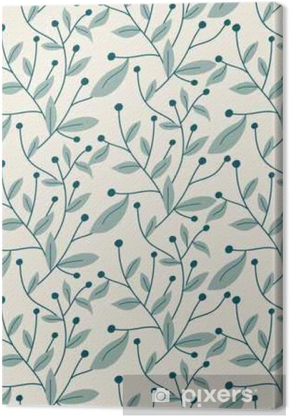 Vector seamless pattern. Modern stylish hand drawn floral texture with structure of repeating tree branches with leaves and berries. Canvas Print - Graphic Resources