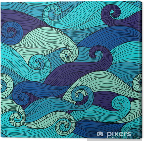 Vector seamless pattern with abstract waves Canvas Print - Landscapes