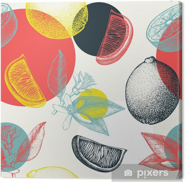 Vector seamless pattern with ink hand drawn lime fruit, flowers, slice and leaves sketch. Vintage citrus background in pastel colors Canvas Print -