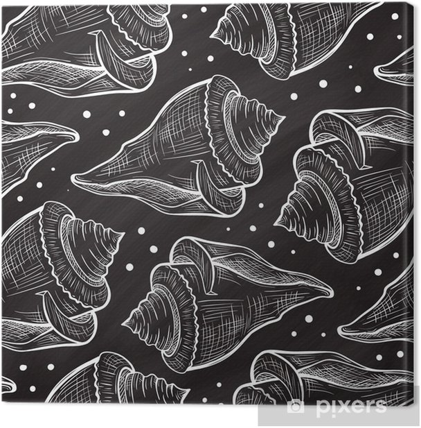 Vector seashells seamless pattern on a chalkboard background Canvas Print - Graphic Resources