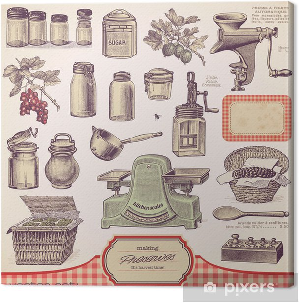 vector set: preserves and homemade food Canvas Print - Themes