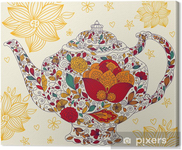 Vector template with teapot Canvas Print - Cafe